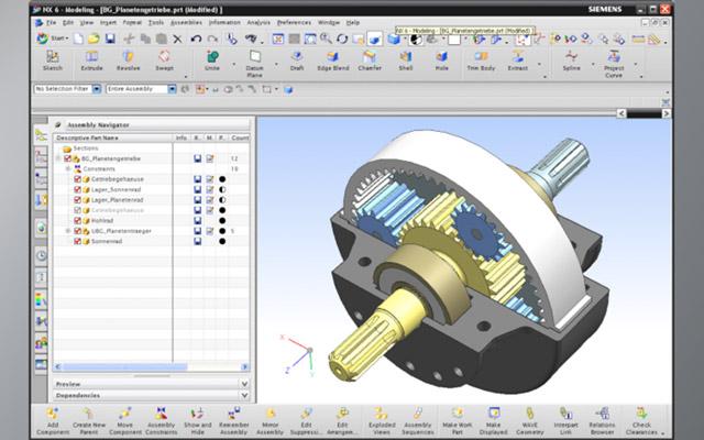 Siemens NX Programm Screenshot