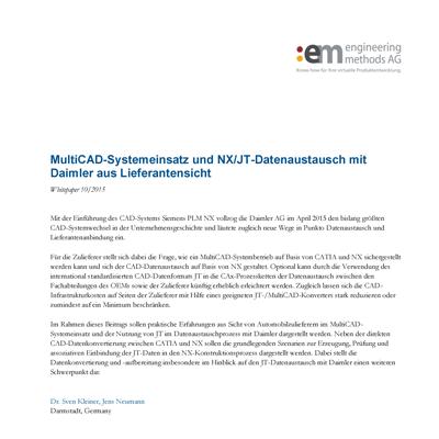 :em engineering methods AG • Multi-CAD system use and NX/JT data exchange with Daimler - The supplier's perspective Seite 1 von 5 MultiCAD-Systemeinsatz und NX/JT-Datenaustausch mit Daimler aus Lieferantensicht