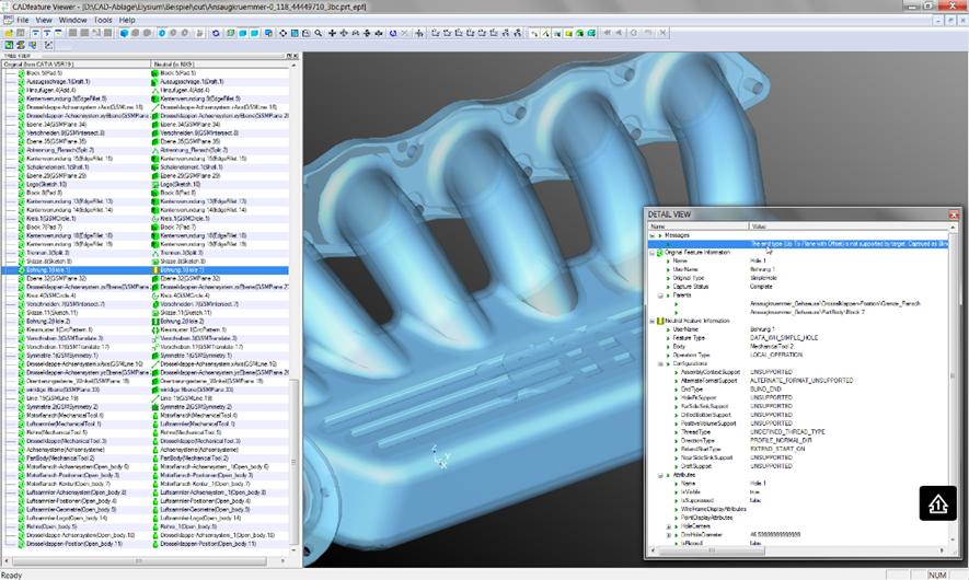 CADfeature Programm Screenshot
