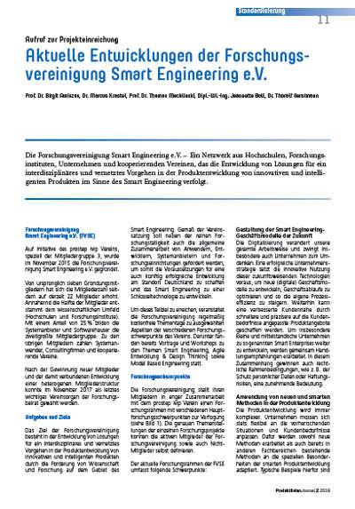 PDJ Aktuelle Entwicklung der Forschungsvereinigung smart Engineering e.V.