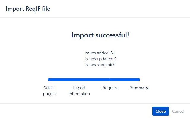 ReqIF4Jira Importstatus Grafik