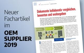 Neuer Fachartikel im OEM SUPPLIER 2019 - Dokumente kollaborativ vergleichen, bewerten und weitergeben