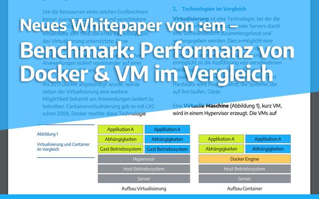 Keyvisual Whitepaper: Benchmark: Performanz von Docker & VM im Vergleich